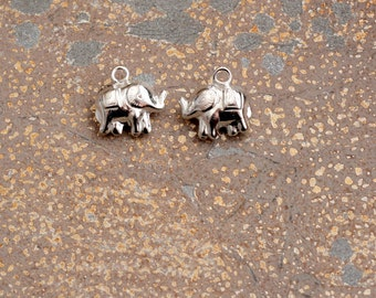 Sterling Silver Elephant Charm, Puffy, Little Elephant Charms, Trunk Up, Lucky Elephant,Bracelet Charms,Tiny Elephant Charms,Pairs,PS15-0130