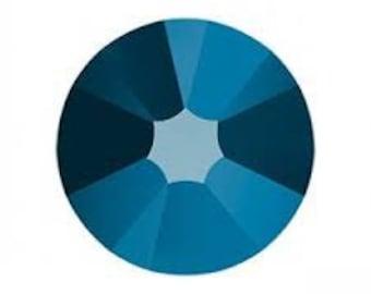 12ss Crystal METALLIC BLUE Swarovski Flatbacks Crystal Rhinestones. No-hotfix. 3.1mm. ss12