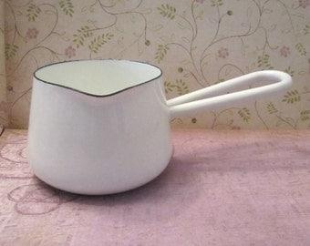 Vintage White Enamel Melting Pot Sauce Pan