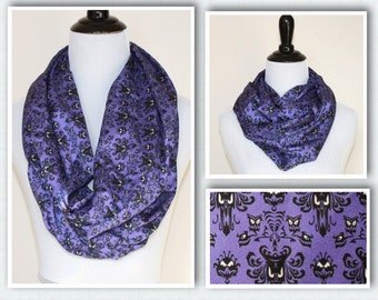 Haunted Mansion, Creepy Wallpaper Infinity Scarf for Gals in Purple and black, Extra Long