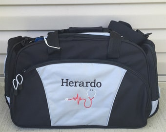 Duffel Bag * Personalized Nurese Stethoscope Duffle Bags * Medical Nursing Tote Bag * Custom EMS Medic Bag with Name * Monogrammed Gift
