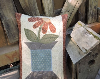 "Quilted Appliqued Pillow with a Prim Flower on a Spool     12"" x 16"""