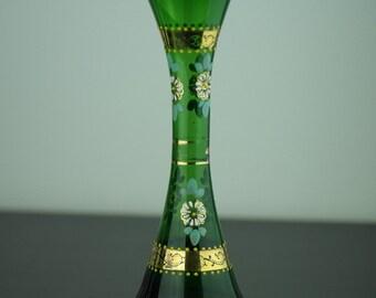 Antique gild green glass vase Bohemian style