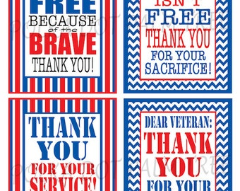 INSTANT DOWNLOAD Printable Veteran Military Patriotic Thank You Cards Notes Thank You For Your Service Home Of The Free Because Of The Brave