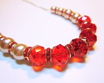 Chunky Red Crystals Pink Pearls Necklace