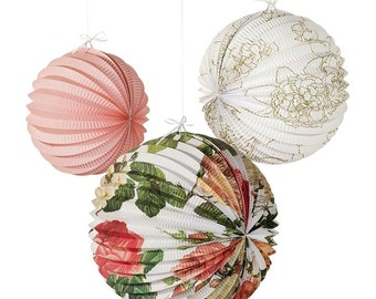 3 x Trendy Blossom & Brogues Accordian Lanterns ech with a different floral design and colour.
