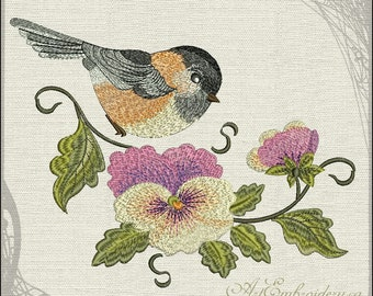 Cheeckadee and Pansies - Embroidery Designs Set in two sizes
