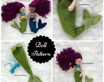 Crochet Mermaid Doll Pattern Jane Doll Pattern Crochet Mermaid Pattern Amigurumi Doll Pattern Amigurumi Mermaid Tail Pattern Mermaid Doll