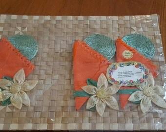Vintage Woven Placemats (4) and Napkins Coasters (3) Hawaiiana