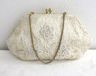 Vintage hand beaded evening bag, ivory sequins and seed pearls in 3D pattern of flowers, gold frame, rhinestone kiss lock, 1950s, wedding