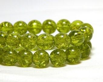 8mm Lime Crackle Czech Beads, Lime Green Beads, Green Crackle Beads, 8mm Green Beads, Green Beads, 8mm Round Beads, 8mm Glass Beads,D-D13