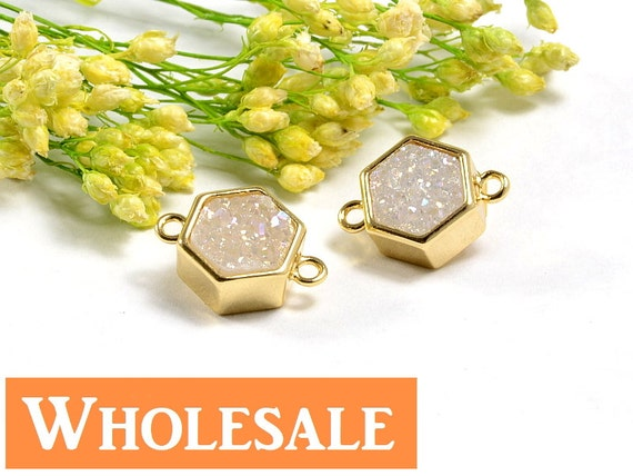 Hexagon Druzy WHOLESALE in AB color, AB Druzy Connector, Natural Titanium Agate Drusy Gemstone Jewelry  - 5 pcs/ pkg
