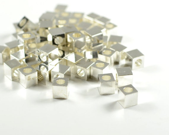 Square beads, 5mm, cube spacer beads, smooth edge, electroplated sterling silver, brass beads  - 25 pcs/ pkg