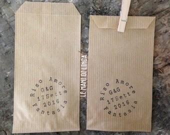 "10 Mini storage bags for rice/""confettata"" in kraft paper-shabby chic-rustic chic"