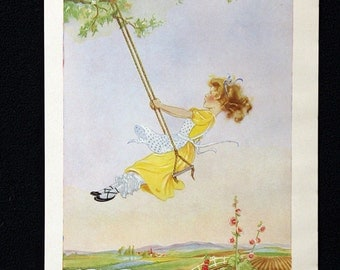 Eulalie M. Banks Color Illustration entitled The Swing * Delightful 1956 Childrens Book Page Print Beautiful Full Color
