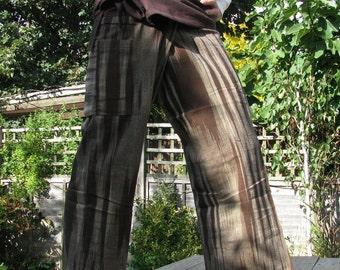 "Handwoven ""EBONY EFFECT"" 100% cotton thai fisherman pants."