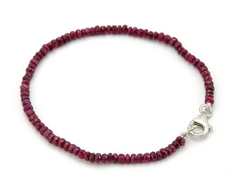 Ruby Bracelet . 4 mm. Natural Red Ruby Bead Bracelet 925 Silver Clasp.
