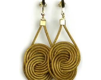 Golden Grass Double Hoop Earrings, Double Interlaced Hoop Earrings, Drop Handmade Earrings, Eco Friendly, Organic Earrings