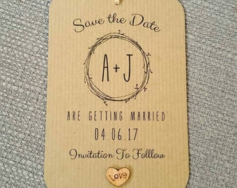 Rustic, Woodland, Ribbed Kraft Save the Date Card with Wooden Heart Detailing