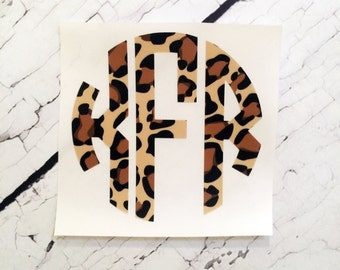 Monogram Decal, Leopard Print Decal, Car Window Sticker, Leopard Monogram  Sticker, Vinyl