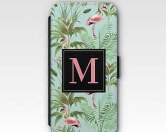 Wallet Case for iPhone 8 Plus, iPhone 8, iPhone 7 Plus, iPhone 7, iPhone 6, iPhone 6s, iPhone 5/5s, Pink Flamingos & Palm leaf Monogram Case