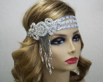 Gatsby headpiece, 1920's headpiece, Wedding headpiece, Flapper headband, Silver Rhinestone headband, Roaring 20s dress, 1920s hair accessory