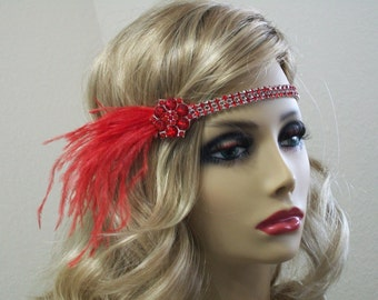 1920s Flapper headpiece, 1920s dress, Gatsby headband, 1920s headband, Feather headband, 1920s accessories, Roaring 20s dress, Jazz Age
