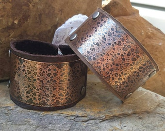 Custom Leather Cuff Bracelet with Brass Etched Lace Design.  Lace Collection