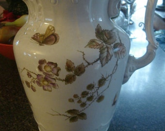 antique porcelain pitcher transferware tall water pitcher  with dragonfly and butterfly pattern