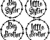 Big Sister, little sister, big brother, little brother Iron ons, Siblings