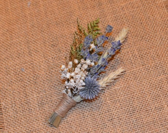 Wedding Boutonniere, English lavender boutonniere, Blue Boutonniere  - Custom Made to Order