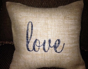 Valentines Day Decor, Burlap Pillows, Romantic Pillows, Love Pillows, Bedroom Decor, Wedding Gift, Bridal Shower Gift, Valentines Day Gift