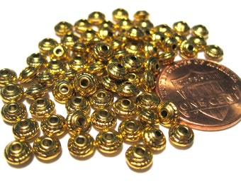 50pcs Antique Gold Spacer Metal beads 5x3mm