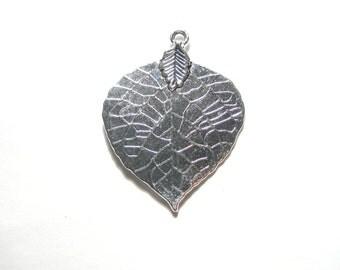 10pcs Antique Silver Large leaf Charm Pendants