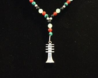 Djeb Sterling Silver pendant with semi-precious stone (Black Onyx, Aventurine, Carnelian & Malachite)