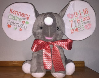 Personalized Grey Gray Dumble Cubbie Elephant Stuffed Plush Animal ~ Name, Birth Announcement, Birthday Gift, Birth Block, Custom Designs