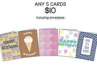 Five Card Set, Choose ANY 5 cards | Discount Variety Set