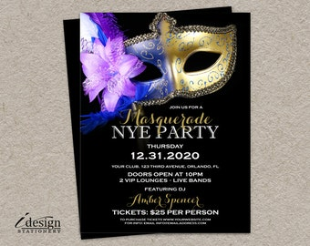 Masquerade New Year's Eve Party Flyer Templates | 2016 NYE Party Flyers | DIY Printable Venetian Mask New Years Eve Flyers