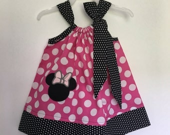 Custom Made Pillowcase Dress-  Minnie Mouse Head Applique Embroidered in Pink Polka Dot with Black bebe dot Hem and ribbon- NB- 8y/o