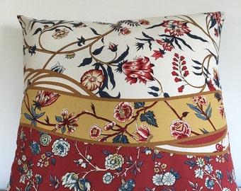 "Brunschwig Fils Menar 22"" Red Blue White Gold Floral Pillow Cover"