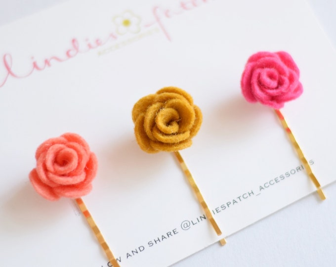 Featured listing image: A set of 3 flower bobby pins for girls, that is a summer- autumn favourite. Handmade in England using 100% wool felt