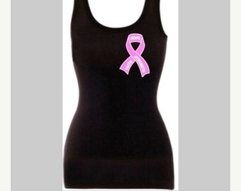pink ribbon breast cancer awareness singlet