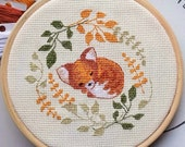 Sleepy Fox Cross Stitch Pattern, instant digital download * kit available!