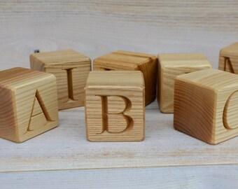 27 Spanish Alphabet Wooden Blocks, Handmade ABC Letter Blocks, Wood Letter Cubes, Natural Toy Building Blocks, Birthday Gift Idea