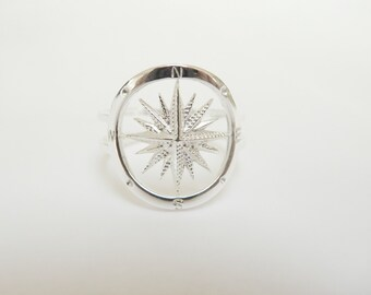 Sailor Compass Ring Sterling Silver - Compass jewelry - Nautical Jewelry