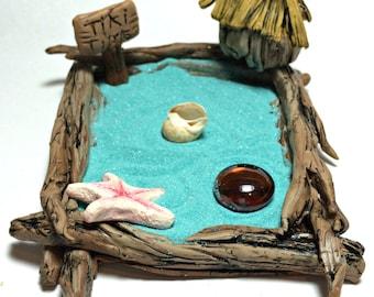 Miniature tropical garden, Tiki Hut Zen Garden Kit, Ocean Decor, Nautical Art, Coastal Home Decor, Beach Art
