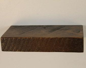 """8"""" x 6"""" x 2"""" Rustic floating shelf, solid Pine, Mocha, Espresso, Dark Chocolate"""