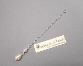 Bijoux mariage de dos en chaine et cristal, pendentif mariage de dos goutte nacrée, accessoires, Bridal jewelry backdrop necklace crystal