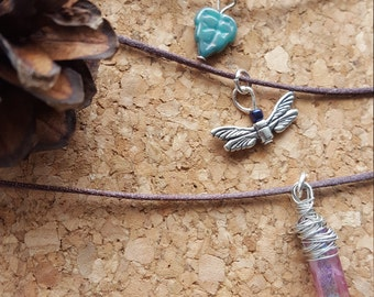 Handmade Woodland Pixie stackable choker necklace set