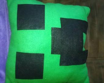 13x13 Mine-Craft Creeper Pillow.